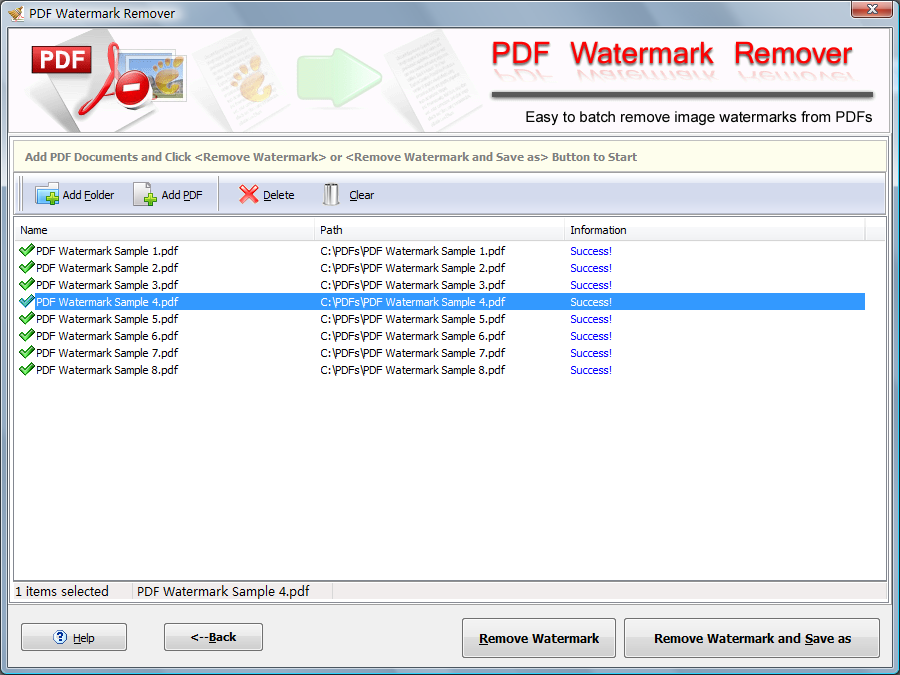 PDF Watermark Remover Screen shot